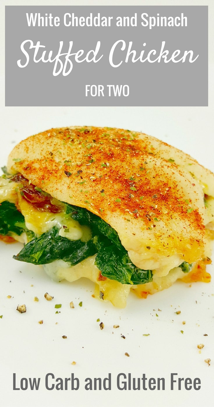 Cheesy Spinach Stuffed Chicken Recipe for Two - White Cheddar and Spinach Stuffed Chicken is so quick and easy to make. I love the flavors of the gooey cheddar, spinach, and garlic stuffed inside tender, juicy chicken. This chicken dish is Low-Carb and Gluten Free. Great recipe for lunch or dinner.
