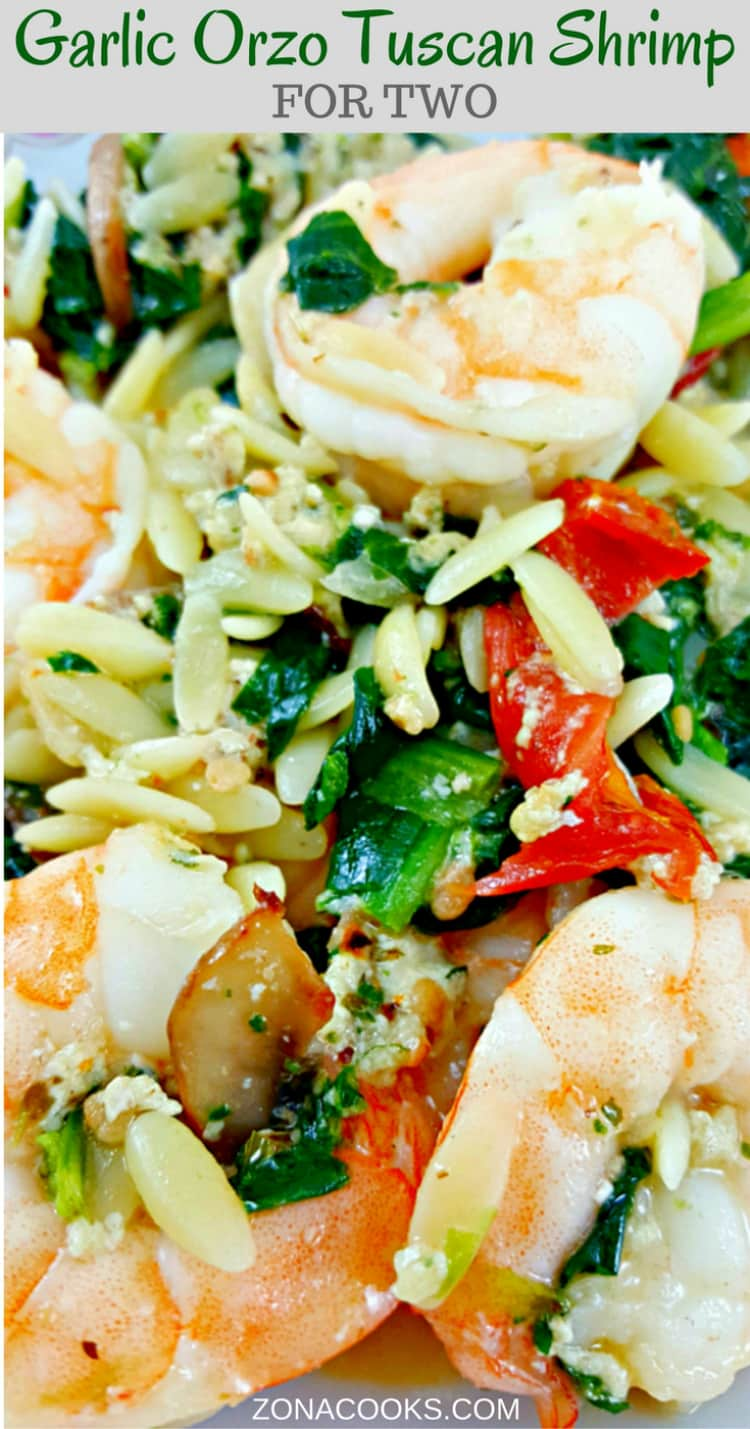 Garlic Orzo Tuscan Shrimp for Two - is coated in a light and creamy Parmesan cheese sauce filled with garlic, sun dried tomatoes, baby bella mushrooms, onion and spinach! This has really great flavor and the majority of it (other than cooking the orzo) is done in one pan.