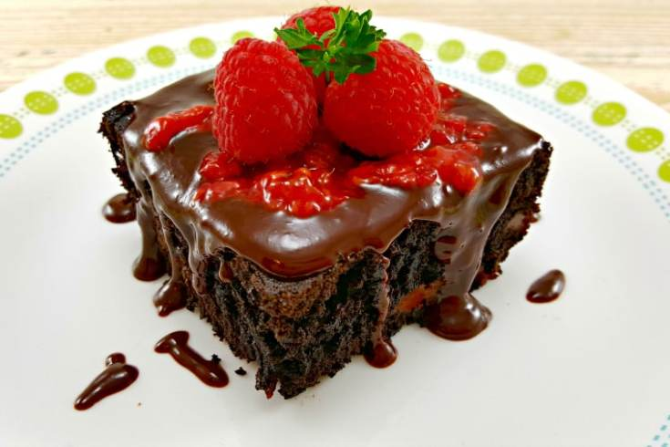 Brownies with Raspberry Sauce and Chocolate Ganache - decadent and delicious!