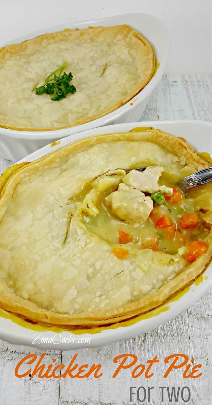 Chicken Pot Pie for Two - This Chicken Pot Pie is the best! It's so delicious and easy and also easy on your wallet! Juicy chicken mixed with peas, carrots, onion and creamy chicken soup are topped with a flaky golden crust. The house smells amazing when it is baking and in just one hour you have the most perfect filling comfort food.