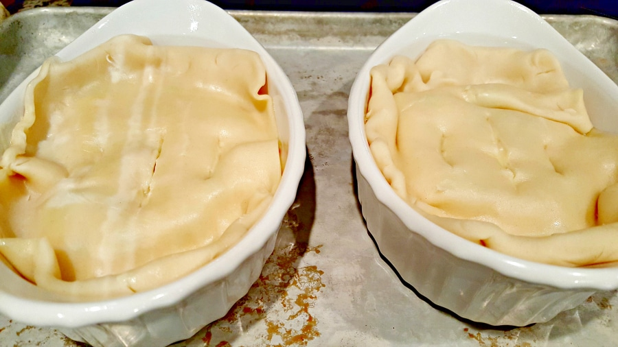 Individual Chicken Pot Pies - top with pie crust
