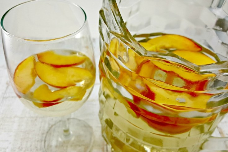 Peach Sangria - with peaches, Peach Schnapps, and Moscato