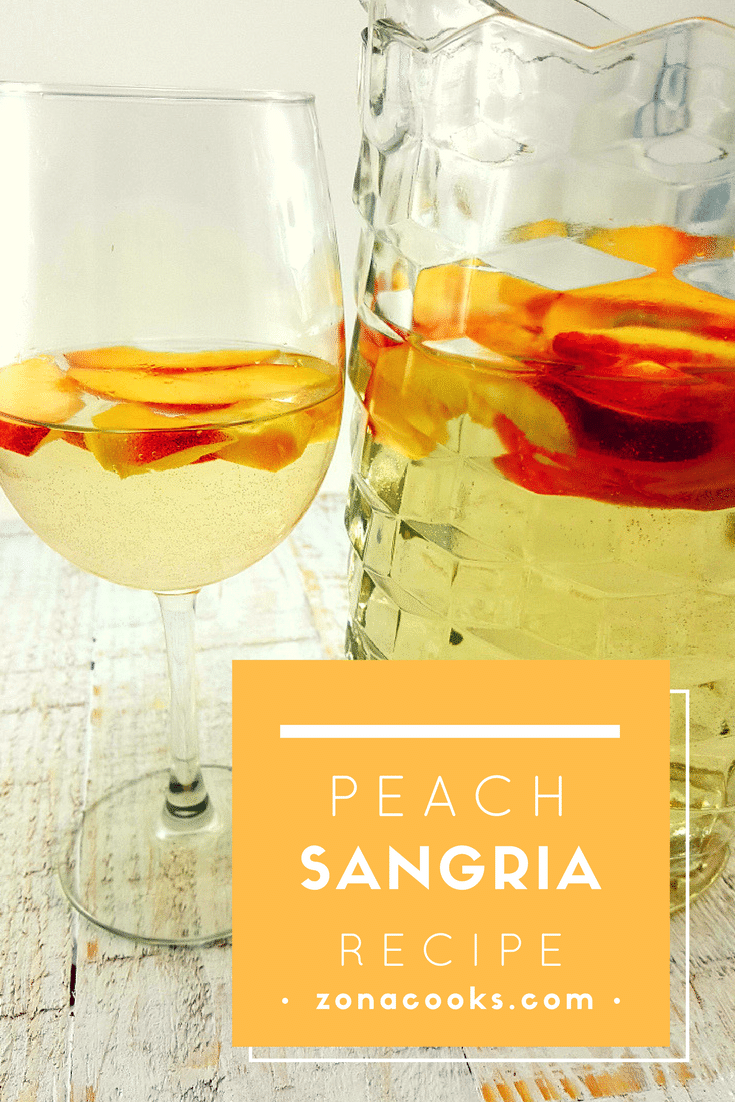 Peach Sangria - This Peach Sangria is refreshing with Moscato and Schnapps soaked peaches and perfect for a romantic dinner for two or just enjoying on a warm Spring or Summer night. Most of my family and friends know I love wine as long as it's sweet! This is my most favorite Sangria Recipe and only uses three ingredients.