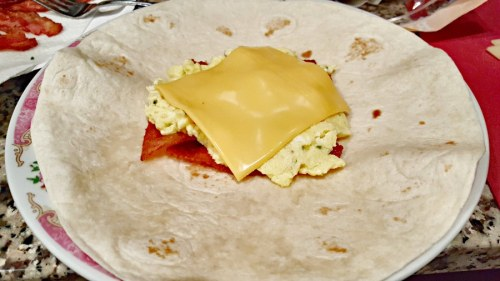Breakfast Crunchwraps - add bacon, egg, and cheese