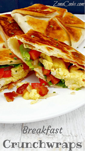 Breakfast Crunchwraps for Two - Breakfast Crunchwraps are an easy and delicious alternative to breakfast burritos which don't have this amazing crispy fried golden brown tortilla shell. These are perfect for breakfast, lunch or dinner for two. The filling options are endless and you can add any of the breakfast ingredients you love the most.