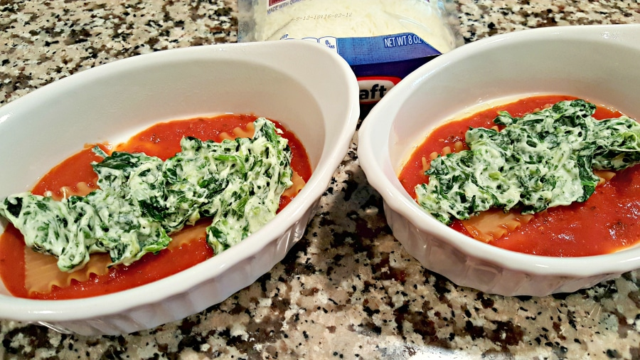 Grilled Mexican Seasoned Chicken and Spinach Individual Lasagna - add spinach and cheese mix to top of noodle