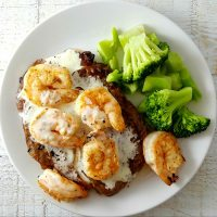 Ribeye Steak and Shrimp with Parmesan Sauce for Two - serves 2