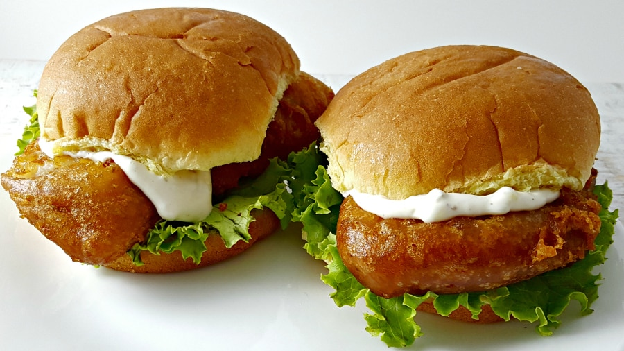 Beer Battered Fish Sandwiches for Two - crispy fried fishwich with homemade tartar sauce