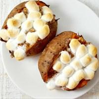 Stuffed Sweet Potatoes with Pecan Marshmallow Streusel Recipe - serves 2