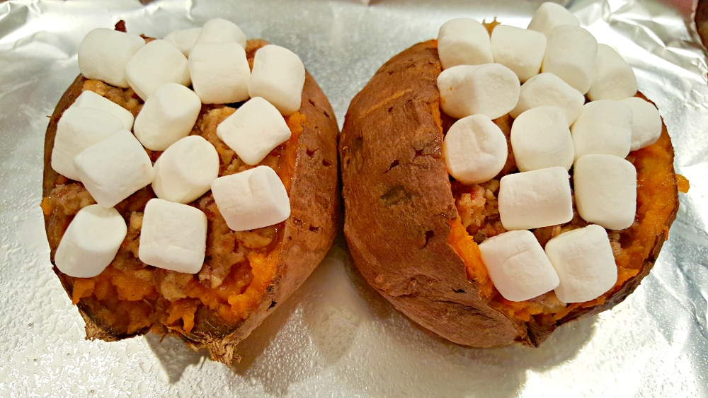 Stuffed Sweet Potatoes with Pecan Marshmallow Streusel Recipe - top with marshmallows