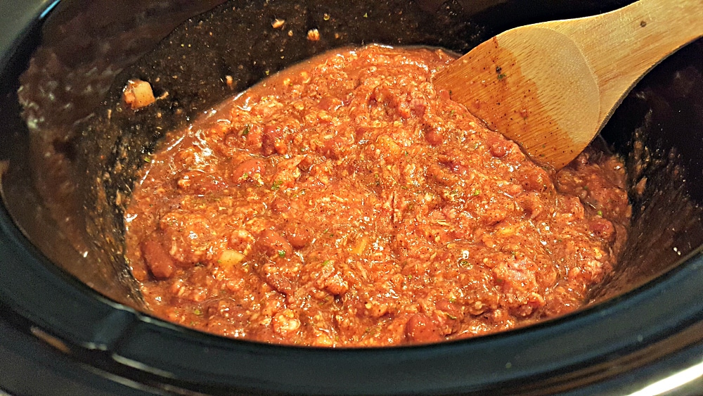 Easy Crockpot Chili Recipe for Two - add remaining ingredients to the slow cooker