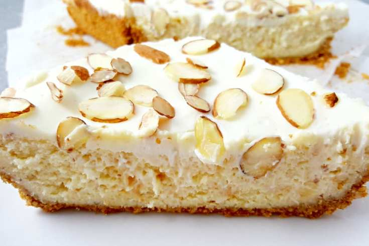 White Chocolate and Almond Amaretto Cheesecake Small Batch Recipe - gorgeous AND delicious!