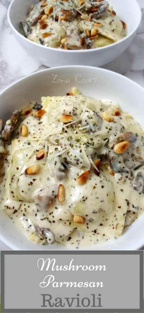 Mushroom Parmesan Ravioli is easy and quick to prepare, ready in just 35 minutes. Ravioli pasta is smothered in a creamy, savory, Parmesan cheese and basil sauce mixed with buttery mushrooms and topped with toasted pine nuts. You may never use store bought sauce again. This small batch recipe is the perfect amount for an impressive lunch, or date night dinner for two. #dinnerfortwo #lunchfortwo #ravioli #MushroomParmesanRavoli #recipesfortwo