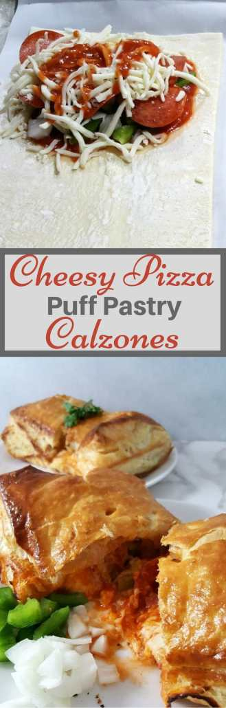 Cheesy Pizza Puff Pastry Calzones have mozzarella and pepperoni stuffed into buttery puff pastry and baked until gooey and molten with a crispy, golden crust. Add all of your favorite pizza toppings. Puff pastry is delicious and flaky. It has so many uses in sweet or savory dishes. This recipe makes a great game day lunch, dinner, or a fun and impressive date night meal for two. #pizzacalzones #pizza #puffpastry #recipesfortwo #dinnerfortwo #lunchfortwo