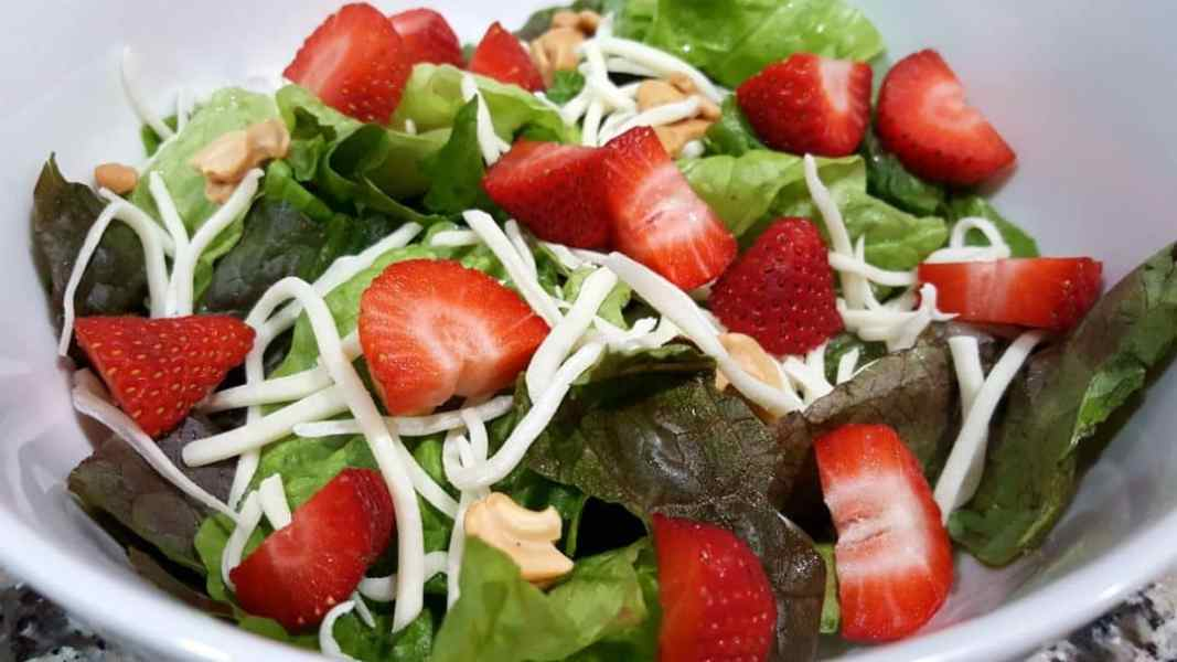 Chicken Strawberry Salad and Poppy Seed Dressing Recipe for Two - add strawberries to salad