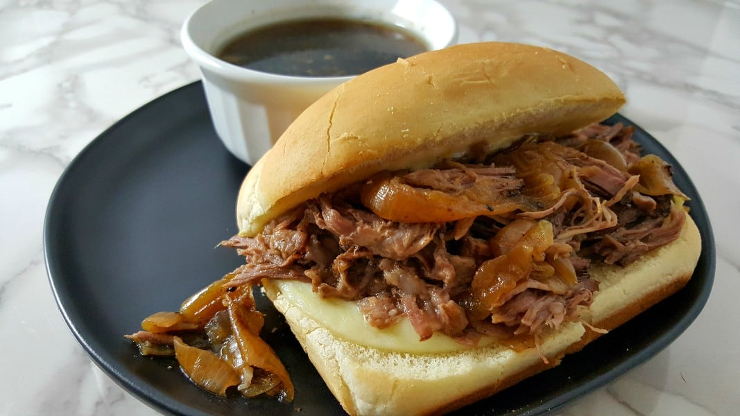 Crockpot French Dip Sandwich Recipe for Two - perfect for date night or game day!