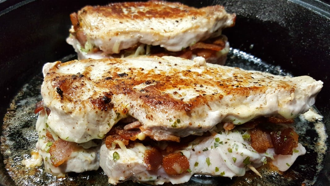 Smoked Gouda and Bacon Stuffed Pork Chops Recipe for Two - cook on both sides for 8 - 10 minutes each