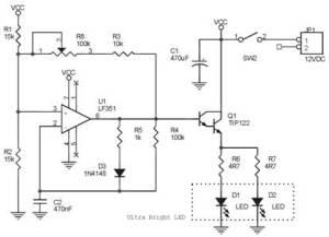 Rangkaian Lampu Kilat Otomotif Menggunakan LED,Lampu Kilat Otomotif,Rangkaian Lampu Kilat