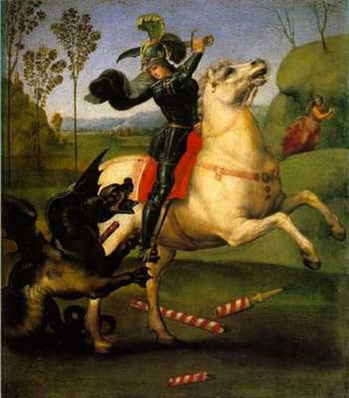 Tenemos a un hombre sobre un caballo mata a un dragon