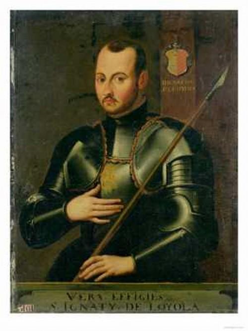 San Ignacio de Loyola en su armadura mirando al frente con su lanza