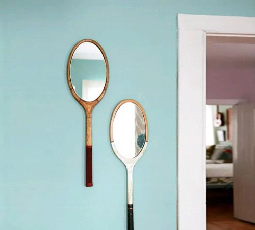 bingkai cermin daur ulang raket bekas