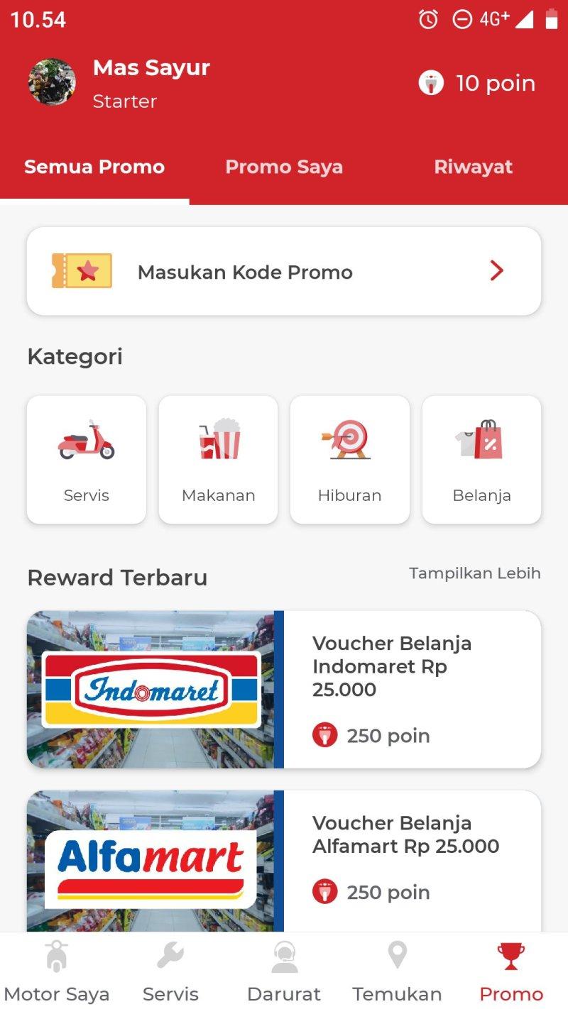 Penampakan halaman utama aplikasi MOTORKU EXPRESS.
