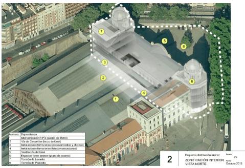 Zona objeto de la concesión a 50 años de Adif (remarcada entre puntos)