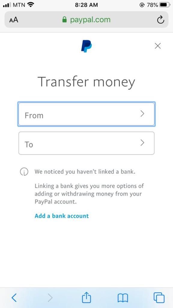 Transfer Funds from Paypal to Credit card