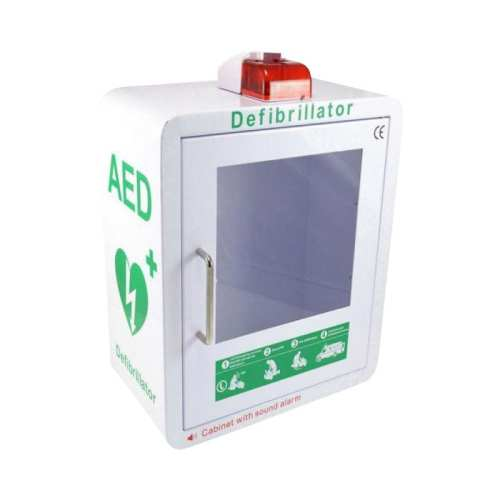 AED Cabinet Green & White With Strobe Light & Alarm
