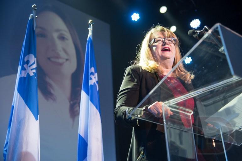 Carole Poirier, députée du Parti Québécois (PQ) dans Hochelaga-Maisonneuve, au couronnement de Martine Ouellet comme cheffe du Bloc Québécois