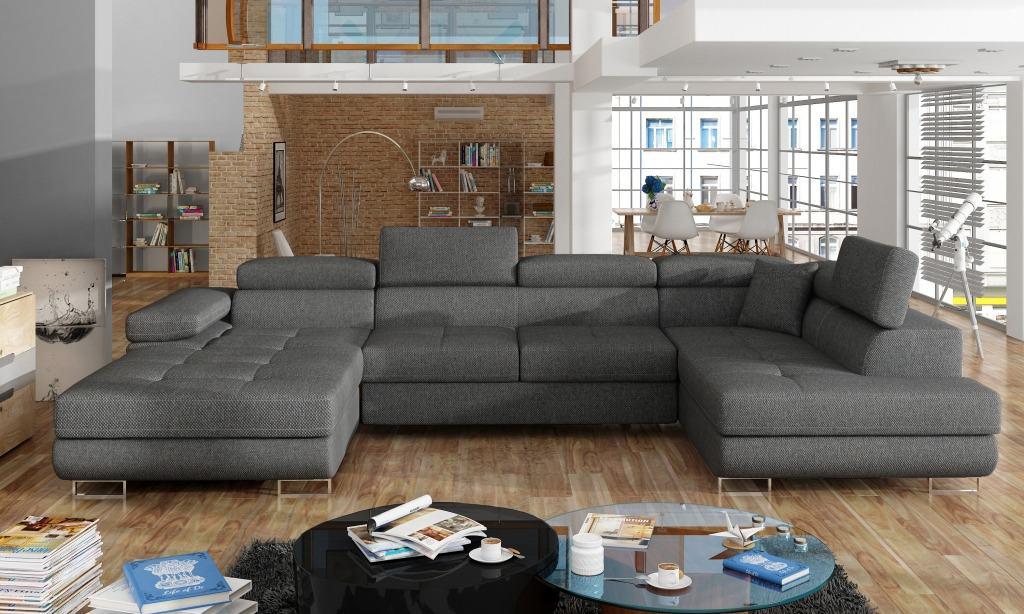 Elegant U Sofa I Grat Stof Med Opbevaring Og Udtraeksseng
