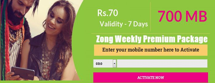 Zong Internet Packages Weekly Code 3G and 4G