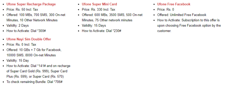 Ufone Packages