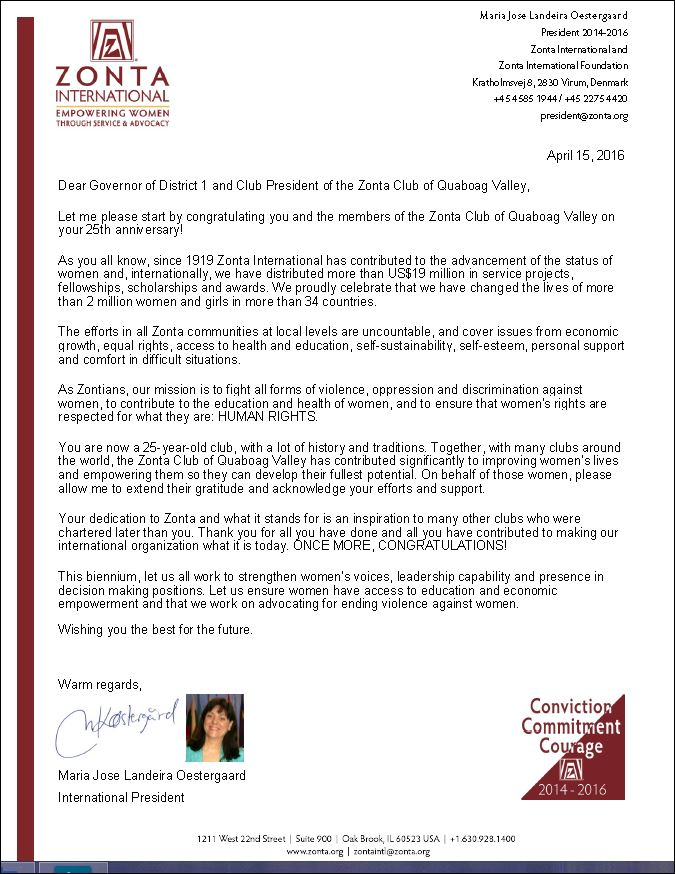 25th Anniversary Announcement from Zonta International | The Zonta