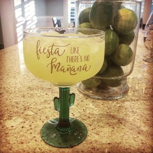 fiesta like there's no mañana margarita glass