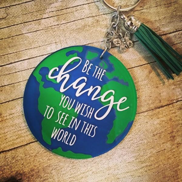 be the change earth world keychain acrylic tassel