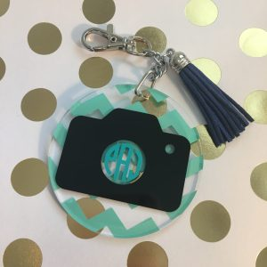Camera monogram keychain photography
