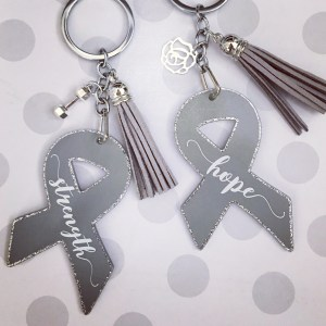 strength & hope ribbon keychains gray brain cancer awareness