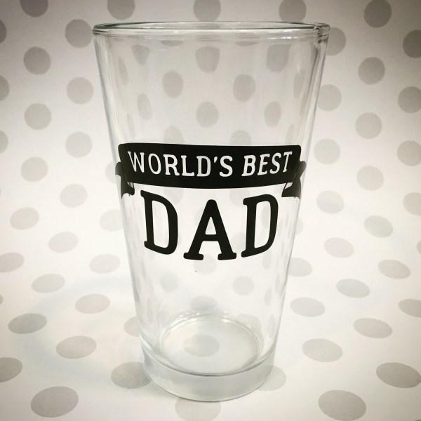 world's best dad pint glass beer