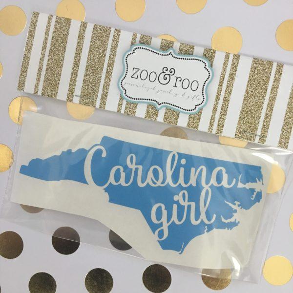 Carolina Girl NC blue decal