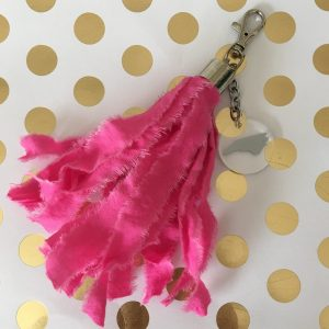 pink tassel bag tag with silver NC charm North Carolina
