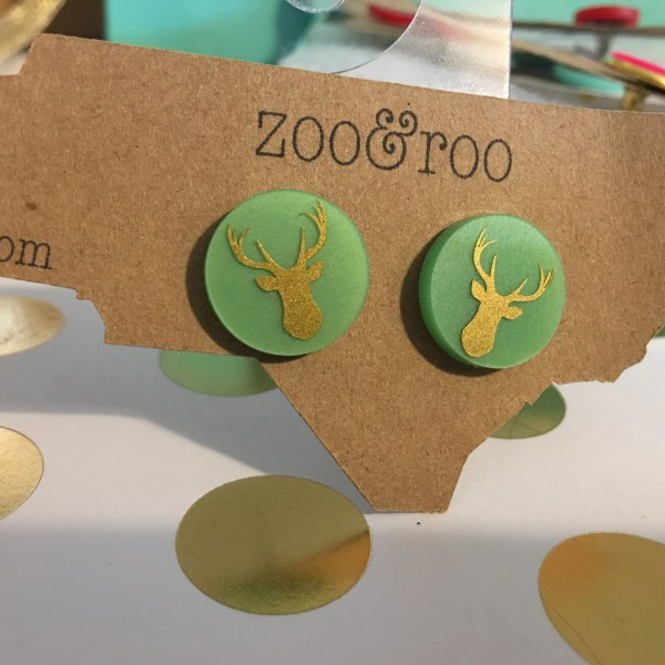deer earrings green gold