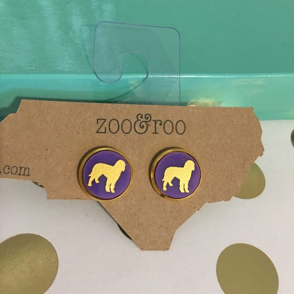 golden doodle earring purple with gold