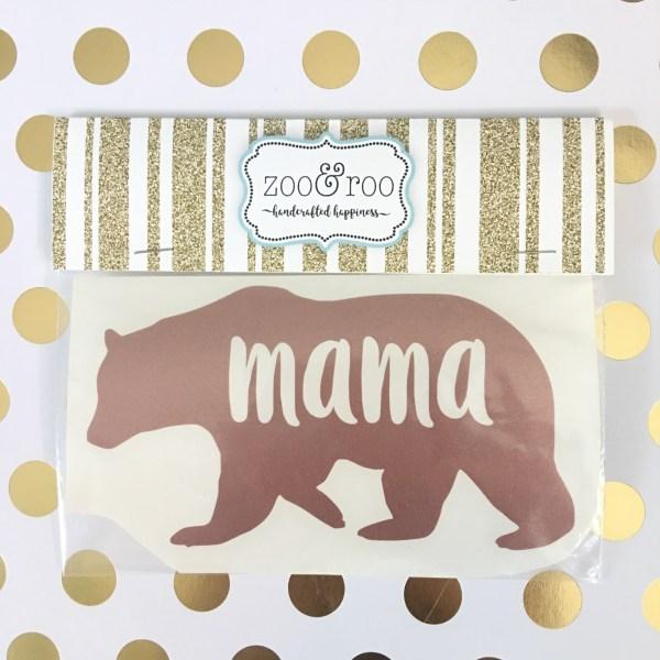 mama bear vinyl decal rose gold glitter