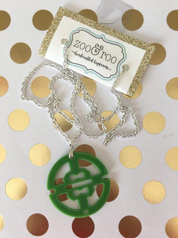 necklace round acrylic pendant green