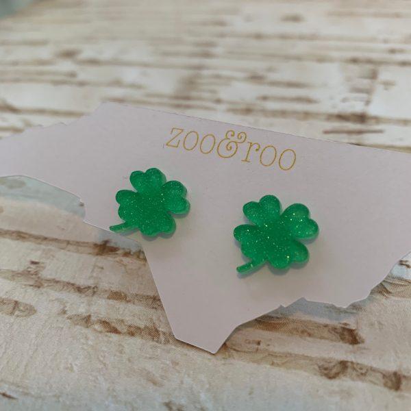 shamrock earrings green glitter small by zoo&roo
