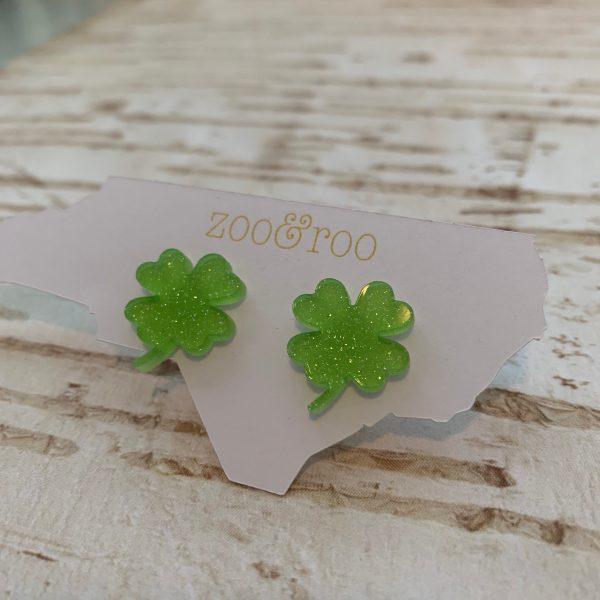 shamrock earrings lime green glitter by zoo&roo