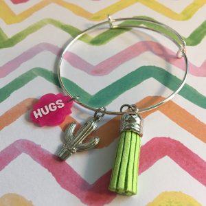 cactus hugs charm bracelet with tassel