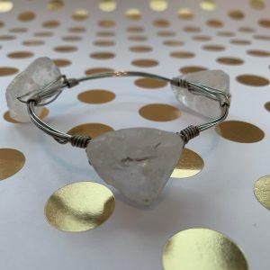 chunky white stone wire wrapped bracelet