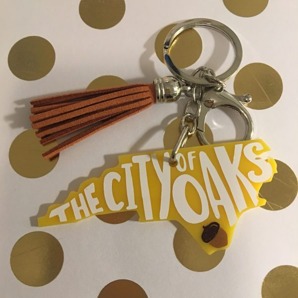 city of oaks Raleigh NC yellow keychain with tassel by zoo&roo